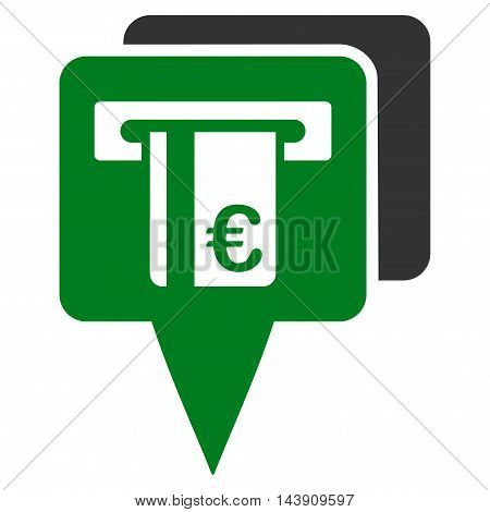 Euro Atm Pointers icon. Vector style is bicolor flat iconic symbol with rounded angles, green and gray colors, white background.