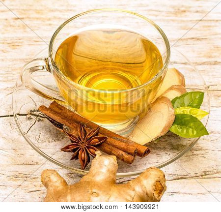 Spiced Ginger Tea Represents Star Anise And Beverages