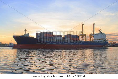Cargo ship (Bulk carrier) loading in cargo terminal