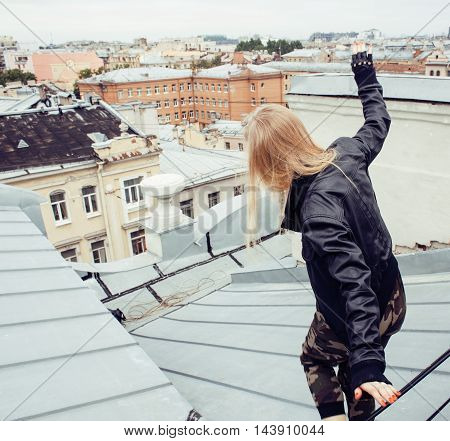 young pretty fashion lady on roof top having fun party time, lifestyle people conceptyoung pretty fashion lady on roof top having fun party time, lifestyle people concept