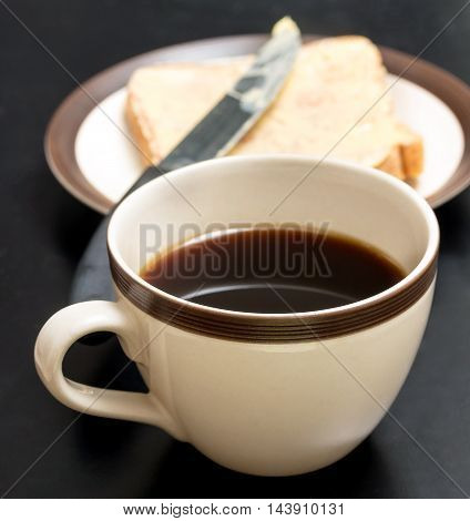 Bread And Coffee Represents Meal Time And Beverage