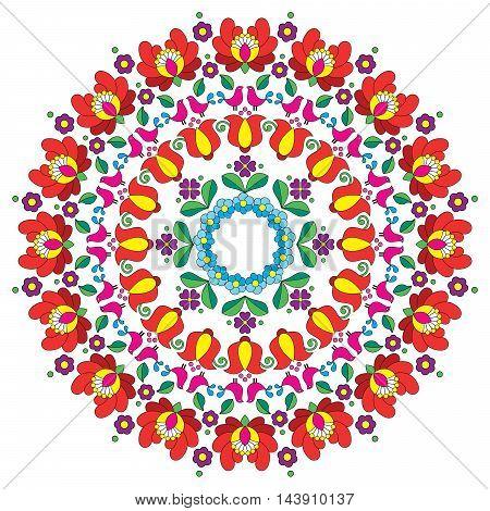 Kalocsai floral embroidery - Hungarian round folk art pattern