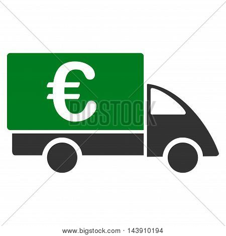 Euro Collector Car icon. Vector style is bicolor flat iconic symbol with rounded angles, green and gray colors, white background.