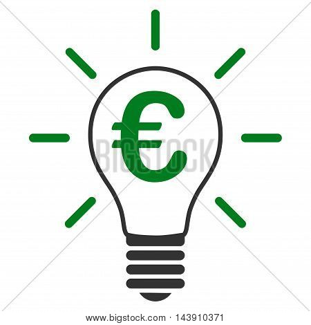 Euro Idea Bulb icon. Vector style is bicolor flat iconic symbol with rounded angles, green and gray colors, white background.