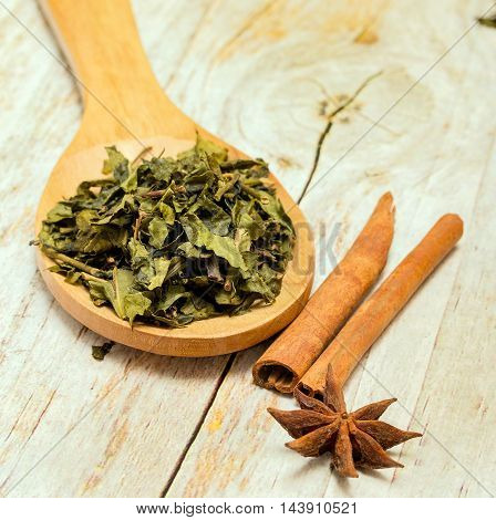 Green Tea Leaves Indicates Drinks Refreshes And Spiced