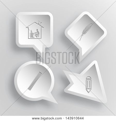 4 images: home work, feather, ruler, pencil. Education set. Paper stickers. Vector illustration icons.