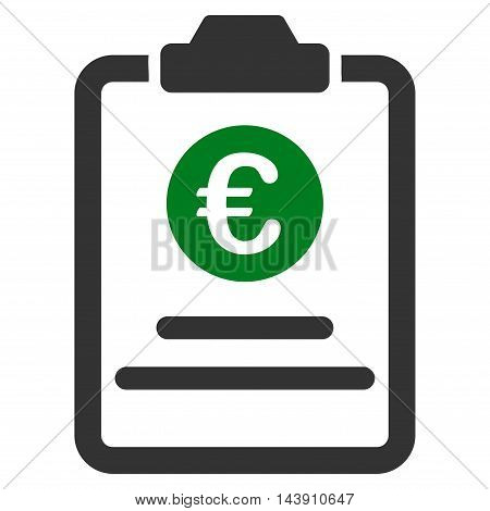 Euro Prices Pad icon. Vector style is bicolor flat iconic symbol with rounded angles, green and gray colors, white background.