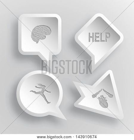4 images: brain, help, jumping girl, heart protect. Medical set. Paper stickers. Vector illustration icons.