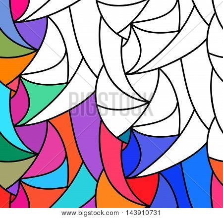 abstract seamless fantasy pattern of black white hand drawn outline ornament and colorful background. Coloring book pattern