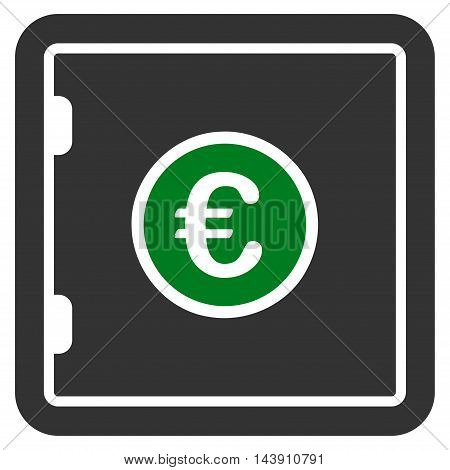 Euro Safe icon. Vector style is bicolor flat iconic symbol with rounded angles, green and gray colors, white background.