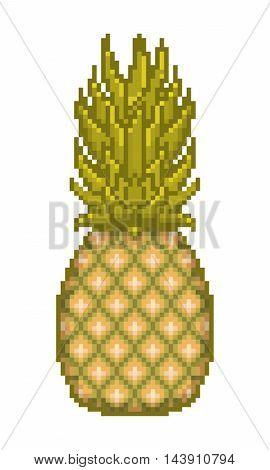 Vector pixel art pineapple icon isolated on white background. Ananas comosus tasty juicy exotic tropical fruit illustration.