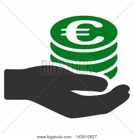 Euro Salary icon. Vector style is bicolor flat iconic symbol with rounded angles, green and gray colors, white background.