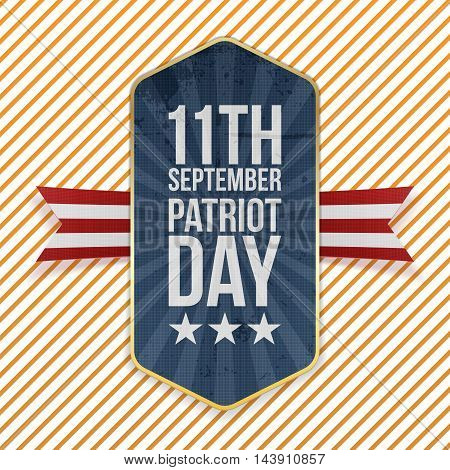Eleventh September. Patriot Day Emblem with Ribbon