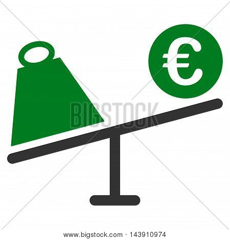 Euro Trade Swing icon. Vector style is bicolor flat iconic symbol with rounded angles, green and gray colors, white background.