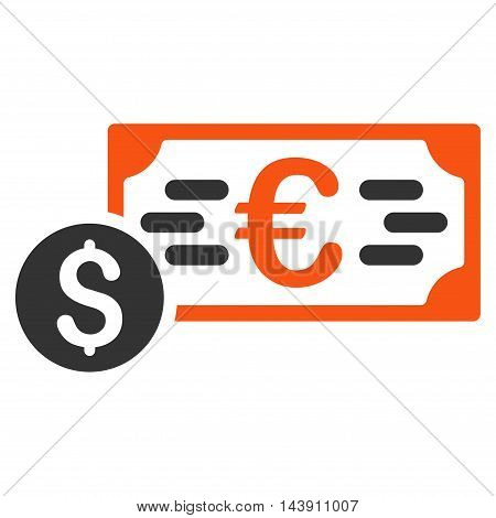 Dollar and Euro Cash icon. Vector style is bicolor flat iconic symbol with rounded angles, orange and gray colors, white background.