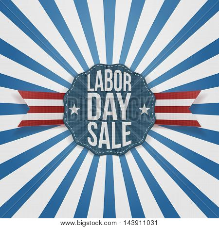 Labor Day Sale greeting Badge on Ribbon