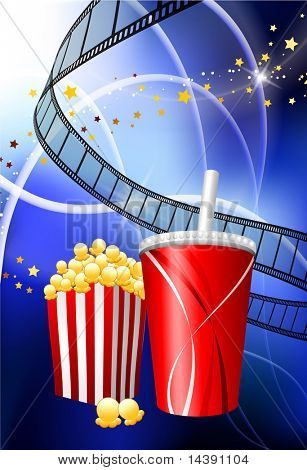 Popcorn and Soda on film Reel Background Original Vector Illustration