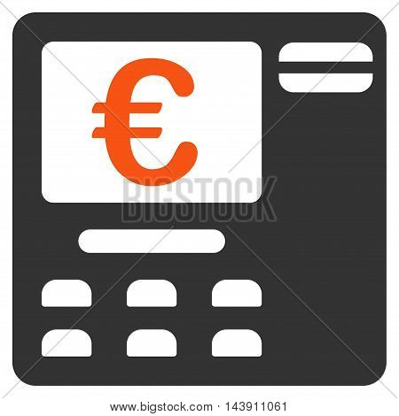 Euro Atm icon. Vector style is bicolor flat iconic symbol with rounded angles, orange and gray colors, white background.