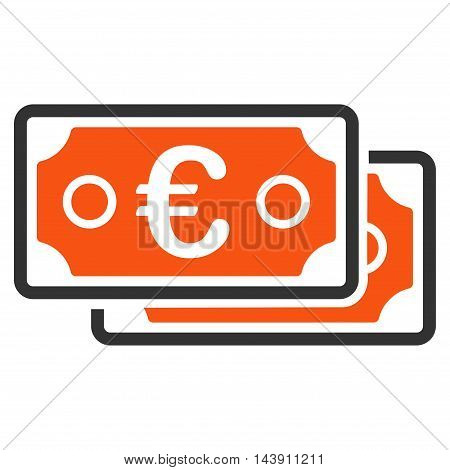 Euro Banknotes icon. Vector style is bicolor flat iconic symbol with rounded angles, orange and gray colors, white background.