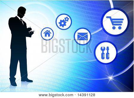 Businessman on Abstract Light Streak Background Original Vector Illustration