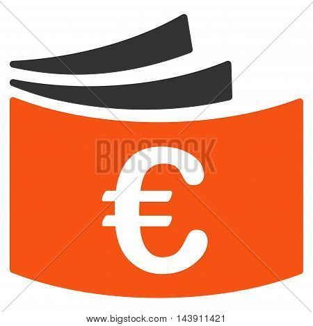 Euro Checkbook icon. Vector style is bicolor flat iconic symbol with rounded angles, orange and gray colors, white background.