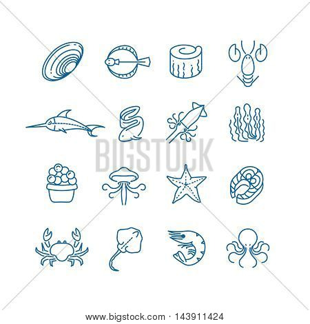 Seafood, fish thin line vector icons. Marine fauna and flora illustration