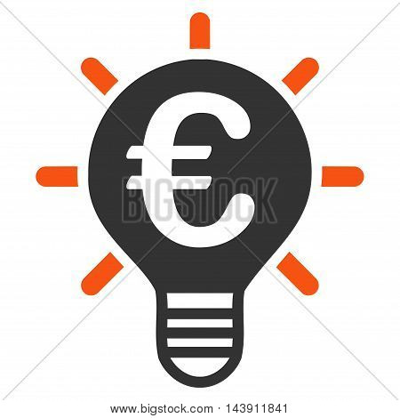 Euro Innovation icon. Vector style is bicolor flat iconic symbol with rounded angles, orange and gray colors, white background.
