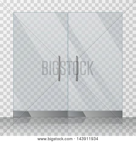 Mall, store glass doors for market and fashion boutique, vector illustration