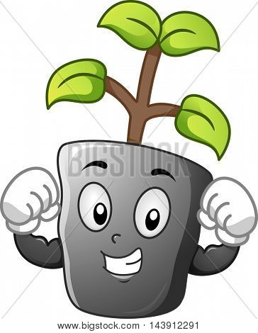 Mascot Illustration of a Seedling Flexing its Biceps