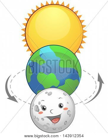 Mascot Illustration of the Earth Sandwiched Between the Sun and the Moon