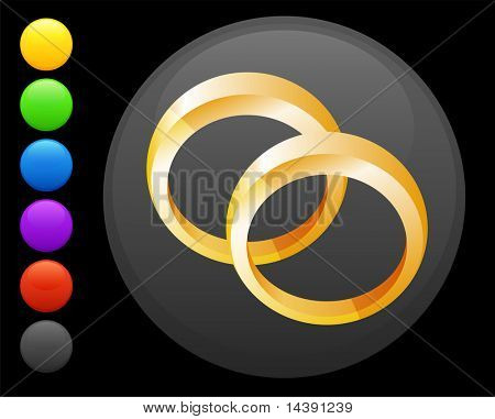 wedding rings icon on round internet button original vector illustration 6 color versions included