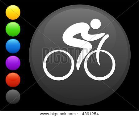 cyclist icon on round internet button original vector illustration 6 color versions included
