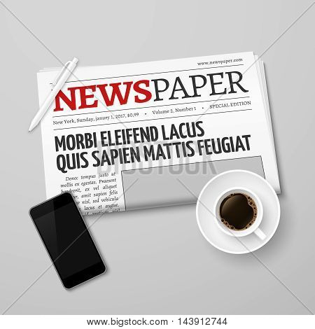 News vector concept with newspaper, pan, coffee cup and smartphone. Morning and drink beverage illustration
