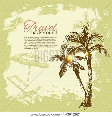 Travel hand drawn vintage tropical design. Splash blob retro background