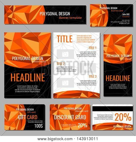 Flyers banners brochures and cards with orange polygonal elements corporate identity vector template. Poster and booklet with polygon element illustration