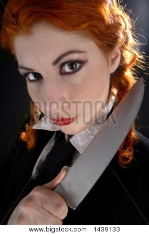 Crazy Schoolgirl With Knife #2