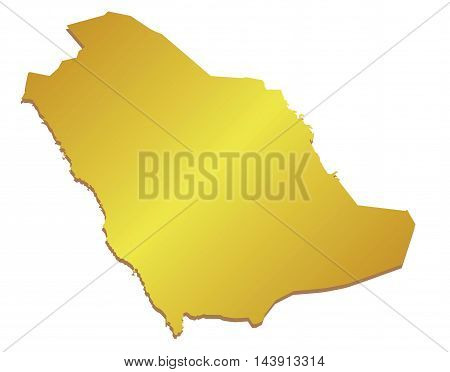 Vector 3D Gold Map of Saudi Arabia