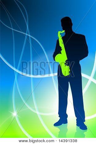 Live Saxophone Musician on Light Abstract Background Original Vector Illustration EPS10