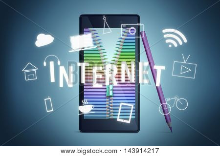 Smart phone with Digital Technology Icons Graphic Concept