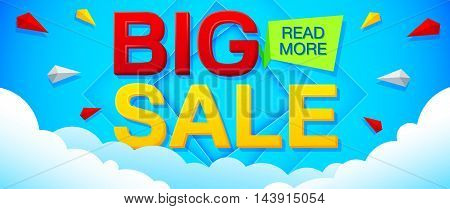 Big Sale and special offer banner on a bright blue background. Sale background. Sale poster. Sale vector. Geometric design. Vector illustration.