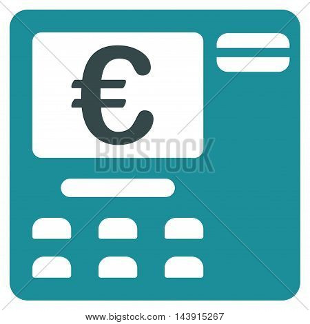 Euro Atm icon. Vector style is bicolor flat iconic symbol with rounded angles, soft blue colors, white background.