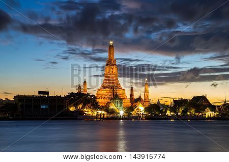 Landscape atmosphere thai temple in sunset time