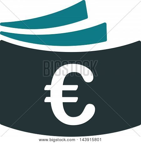 Euro Checkbook icon. Vector style is bicolor flat iconic symbol with rounded angles, soft blue colors, white background.