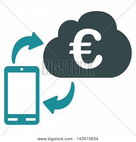 Euro Cloud Banking icon. Vector style is bicolor flat iconic symbol with rounded angles, soft blue colors, white background.