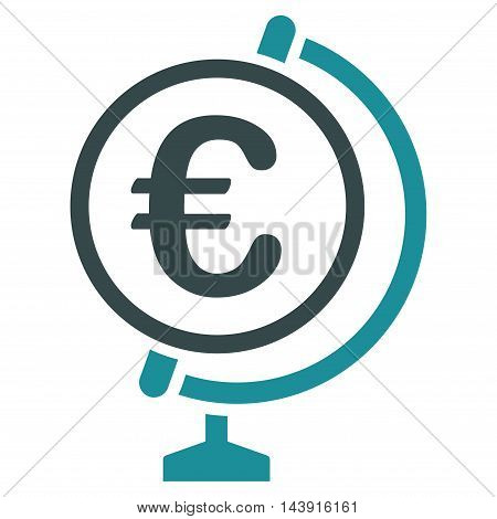 Euro Globe icon. Vector style is bicolor flat iconic symbol with rounded angles, soft blue colors, white background.