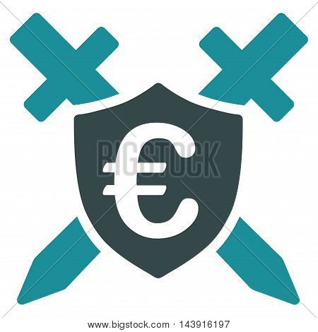 Euro Guard Shield icon. Vector style is bicolor flat iconic symbol with rounded angles, soft blue colors, white background.