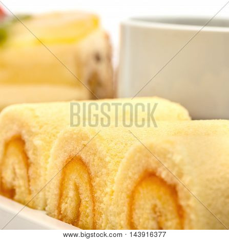 Delicious Cake Represents Swiss Roll And Celebration