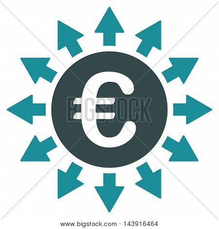 Euro Payments icon. Vector style is bicolor flat iconic symbol with rounded angles, soft blue colors, white background.