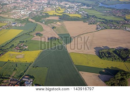 Aerial view of the balloon of the city of Bautzen, Saxony, Germany