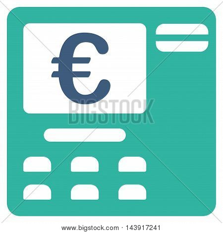 Euro Atm icon. Vector style is bicolor flat iconic symbol with rounded angles, cobalt and cyan colors, white background.